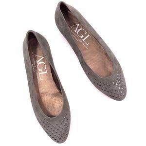 AGL Designer Gray Suede Grommet Ballet Flats 8.5